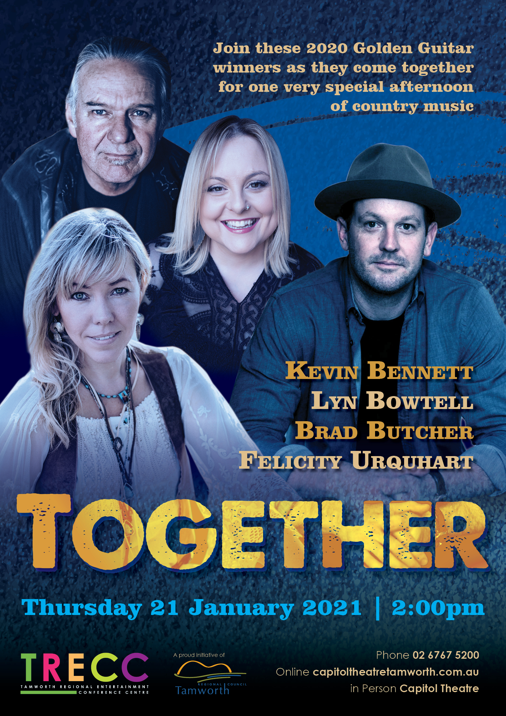 Join 2020 Golden Guitar winners, Kevin Bennett, Lyn Bowtell, Brad Butcher and Felicity Urquhart for one very special afternoon of country music.